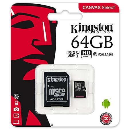 Card de memorie Kingston MicroSDXC, 64GB, Canvas Select 80R, Class 10, UHS-I si Adaptor 1