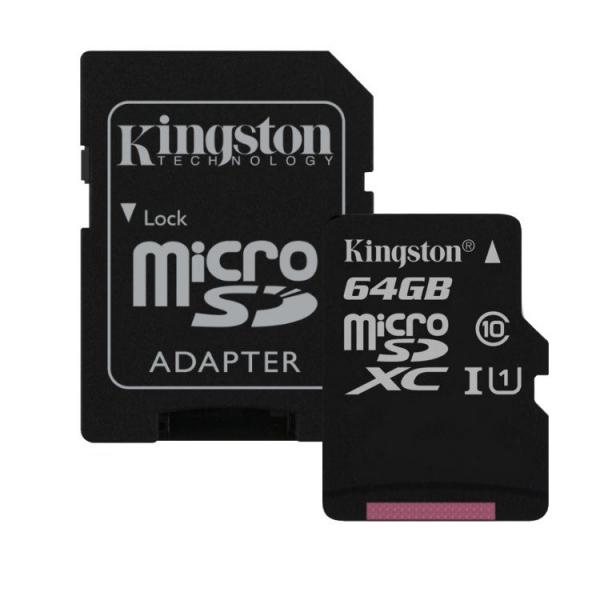 Card de memorie Kingston MicroSDXC, 64GB, Canvas Select 80R, Class 10, UHS-I si Adaptor 0
