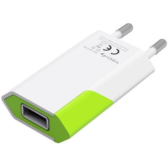 Incarcator de retea Techly, Slim, USB, 5V, 1A, Alb 0
