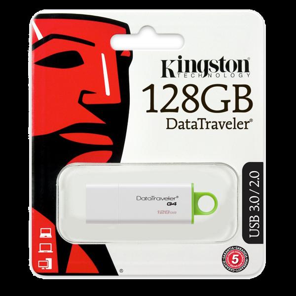 Memorie USB Kingston DataTraveler DTIG4, 128GB, USB3.0, Alb/Verde 0