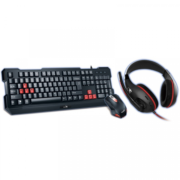 Kit Genius Gaming Keyboard + Gaming Headset + Gaming Mouse, wired, black, KMH-200 (K + M) Interface USB, concave/optical, KMH-200 (HS-G500) Driver unit 40 mm, 20 Hz - 20KHz, 3.5 mm jack, G-31280230100 0