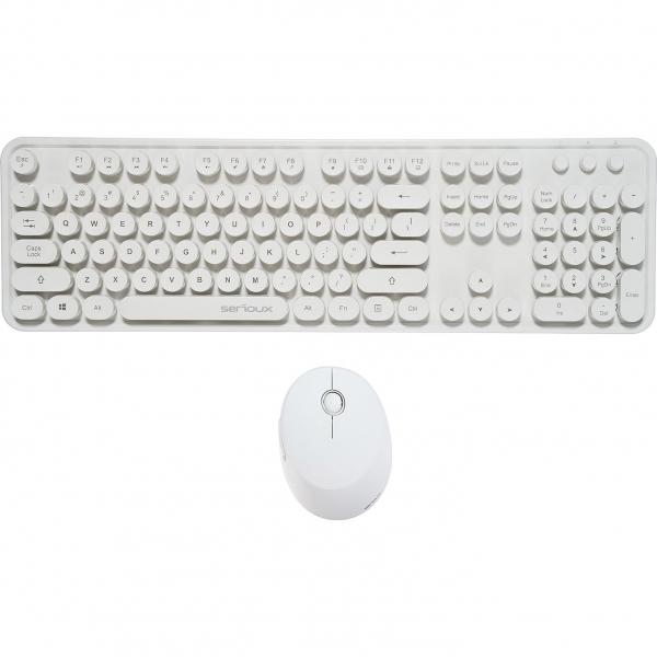 Kit wireless tastatura + mouse Serioux Retro, alb 1