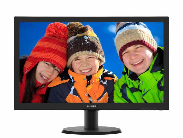 """Monitor 23.6"""" PHILIPS 243V5QSBA, FHD, VA, 16:9, 1920*1080, 60hz, WLED, 8 ms, 250 cd/m2, 178/178, 10M:1/ 3000:1, VGA, DVI, VESA, Black 0"""