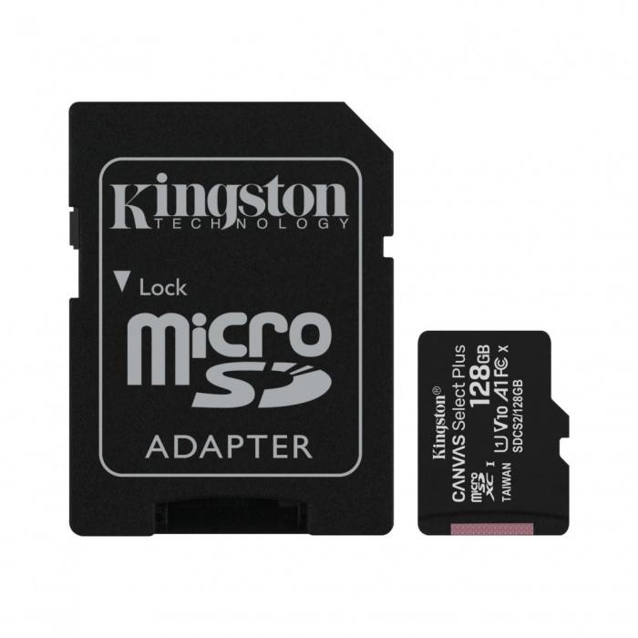 MicroSD Kingston, 128GB, Select Plus, Clasa 10 UHS-I Performance, R: 100 MB/s, include adaptor SD (pentru telefon) [0]