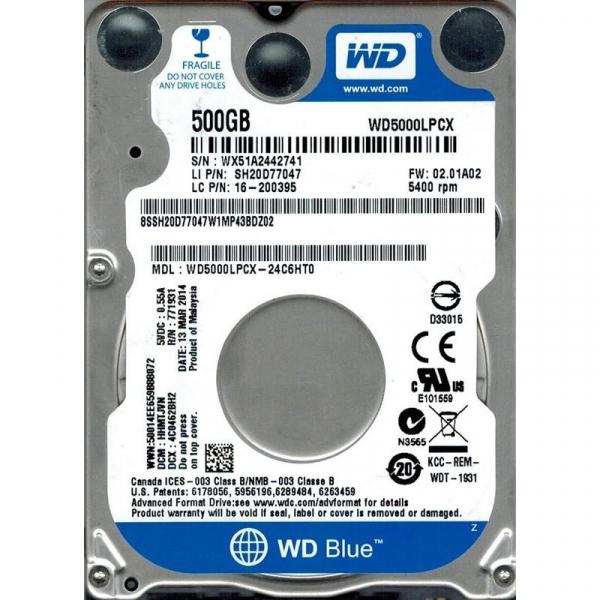 "HDD intern notebook WD 2.5"", 500GB, Blue, SATA3, 5400RPM, 8MB, 6.8mm grosime, w/ AdvFormat 0"