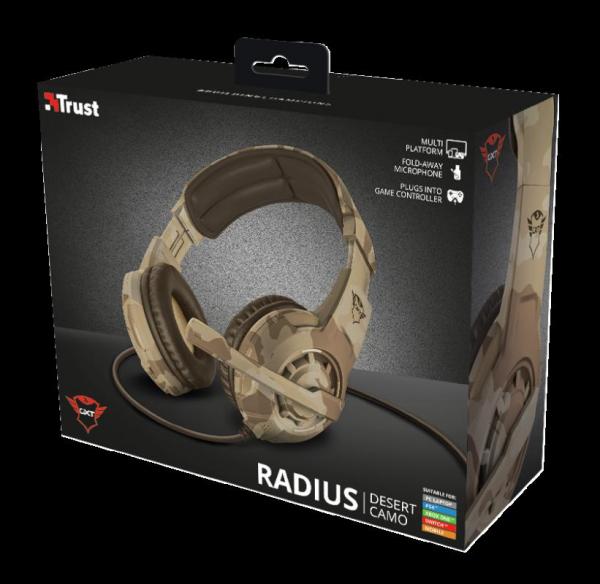 Casti cu microfon Trust GXT 310D Radius Gaming Headset - desert camo 2