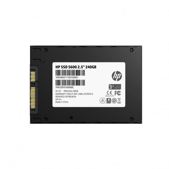 """SSD HP, S600, 240GB, 2.5"""", SATA III 6GB/s, R/W speed: 525/520 MB/s (PN: 4FZ33AA#ABB) 0"""