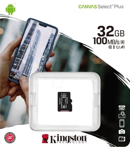 MicroSD Kingston, 32GB, Canvas Select Plus, Clasa 10 UHS-I Performance, U1, V10, Read upt to 100 MB/s ( adaptorul SD nu este inclus ) 0