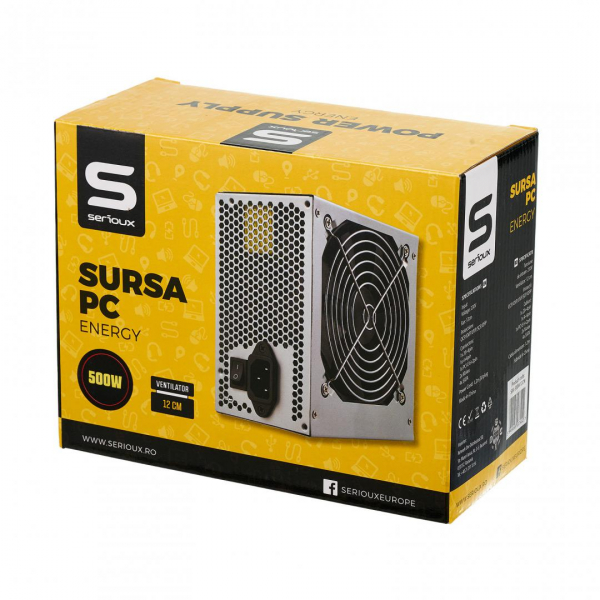 Sursa Serioux Energy 500W, Ventilator 12cm, Protecții: OCP/OVP/UVP/SCP/OPP, Cabluri: 1*20+4pin, 1*4+4pin, 1*PCI-E 6+2pin, 2 *Molex, 4*SATA, Cablu alimentare: 1.2m 1