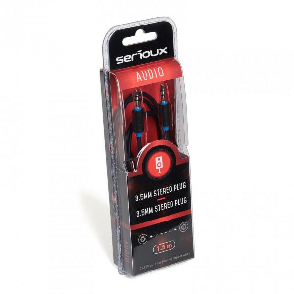 Cablu audio Serioux, jack Stereo 3.5mm tata - jack Stereo 3.5mm tata, conductori 99.99% cupru fara oxigen, 1.5m, negru 1