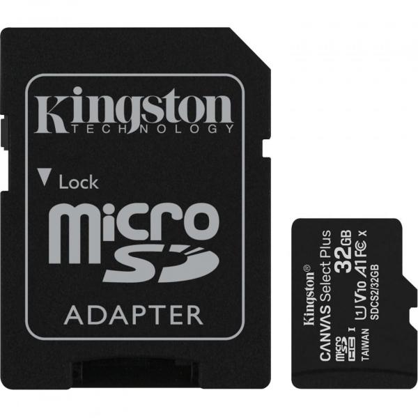 MicroSD Kingston, 32GB, Select Plus, Clasa 10 UHS-I Performance, R: 100 MB/s, include adaptor SD (pentru telefon) 0