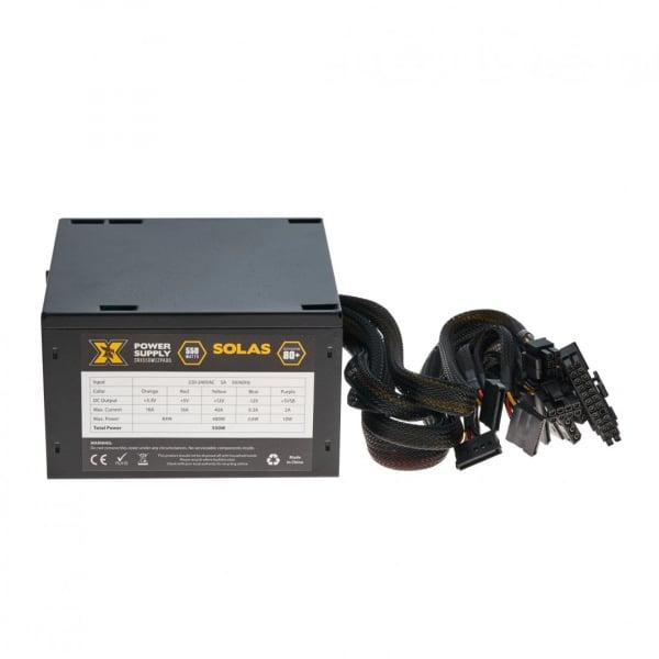 Sursa ATX Serioux 550W, Solas White, Eficienta >80%, Certificare 80+ White, Ventilator 12cm cu control termic, PFC Activ, Protectii: OCP/OVP/UVP/SCP/OPP, cabluri mansetate, 20+4 Pin (500mm), 2xHDD (40 0