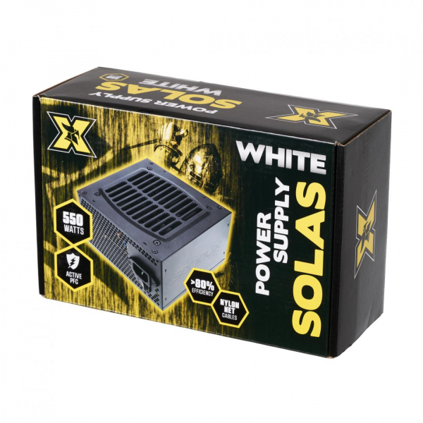 Sursa ATX Serioux 550W, Solas White, Eficienta >80%, Certificare 80+ White, Ventilator 12cm cu control termic, PFC Activ, Protectii: OCP/OVP/UVP/SCP/OPP, cabluri mansetate, 20+4 Pin (500mm), 2xHDD (40 1