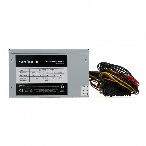 Sursa Serioux Energy 500W, Ventilator 12cm, Protecții: OCP/OVP/UVP/SCP/OPP, Cabluri: 1*20+4pin, 1*4+4pin, 1*PCI-E 6+2pin, 2 *Molex, 4*SATA, Cablu alimentare: 1.2m 2