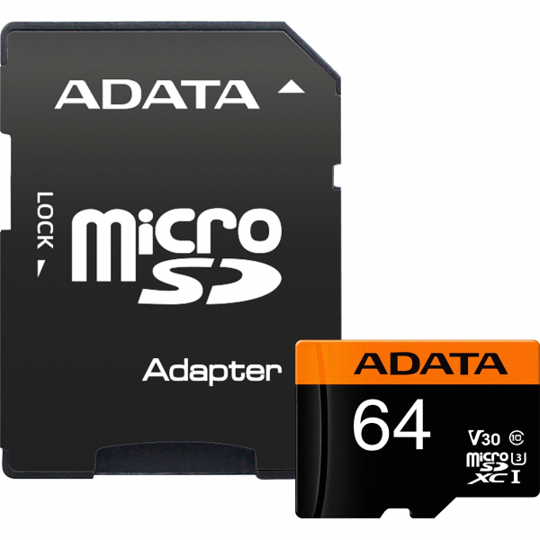 Card de memorie ADATA PremierPRO 64GB V30G, 95R/90W, micro UHS-I U3 CL10 +Adaptor 2