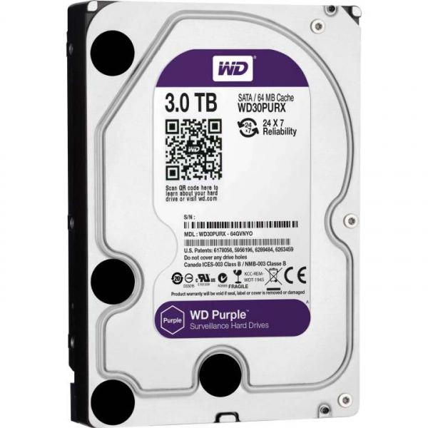 HDD WD Purple 3TB, 5400rpm, 64MB cache, SATA III,WD30PURZ 0