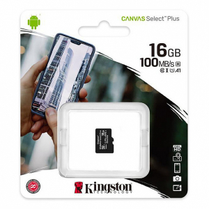 MicroSD Kingston, 16GB, Select Plus, Clasa 10 UHS-I Performance, R: 100 MB/s, (SD Adapter nu este inclus)0