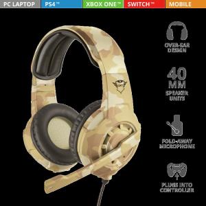 Casti cu microfon Trust GXT 310D Radius Gaming Headset - desert camo6