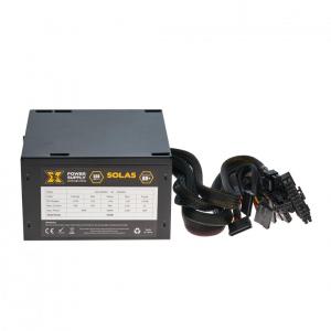 Sursa ATX Serioux 550W, Solas White, Eficienta >80%, Certificare 80+ White, Ventilator 12cm cu control termic, PFC Activ, Protectii: OCP/OVP/UVP/SCP/OPP, cabluri mansetate, 20+4 Pin (500mm), 2xHDD (400
