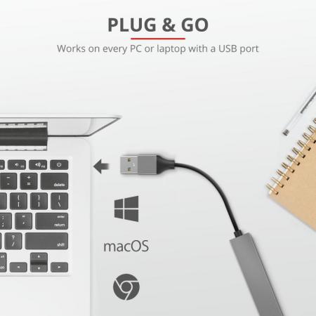 Adaptor Trust Halyx Aluminium 4-Port Mini USB Hub2