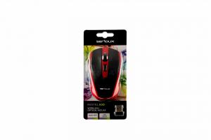 Mouse Serioux, Pastel 600, fara fir, USB, senzor optic, distanta de operare; 10m, precizie: 1000/1600DPI ajustabila, 6 butoane, 2x baterie AAA, sisteme de operare: Windows / Mac OS / Linux, rosu2