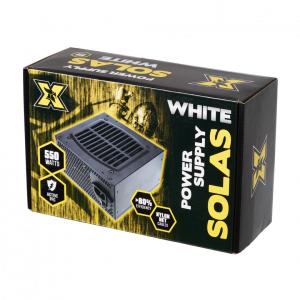 Sursa ATX Serioux 550W, Solas White, Eficienta >80%, Certificare 80+ White, Ventilator 12cm cu control termic, PFC Activ, Protectii: OCP/OVP/UVP/SCP/OPP, cabluri mansetate, 20+4 Pin (500mm), 2xHDD (401