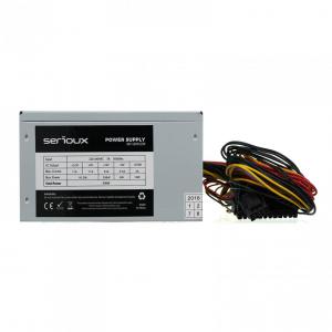 Sursa Serioux Energy 500W, Ventilator 12cm, Protecții: OCP/OVP/UVP/SCP/OPP, Cabluri: 1*20+4pin, 1*4+4pin, 1*PCI-E 6+2pin, 2 *Molex, 4*SATA, Cablu alimentare: 1.2m2