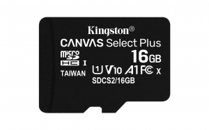 MicroSD Kingston, 16GB, Select Plus, Clasa 10 UHS-I Performance, R: 100 MB/s, (SD Adapter nu este inclus)1