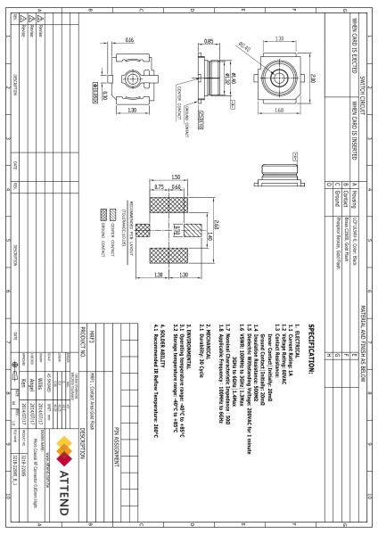 Conector coaxial soclu tata SMT 50Ω 1