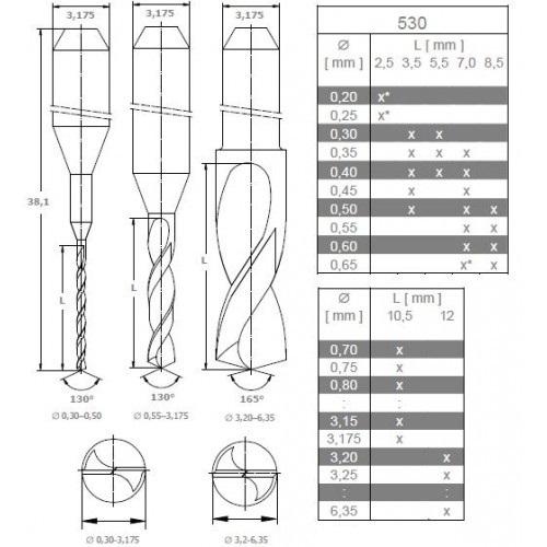 Burghiu standard PCB 530 Diametru Freza (mm) - 1.1 1