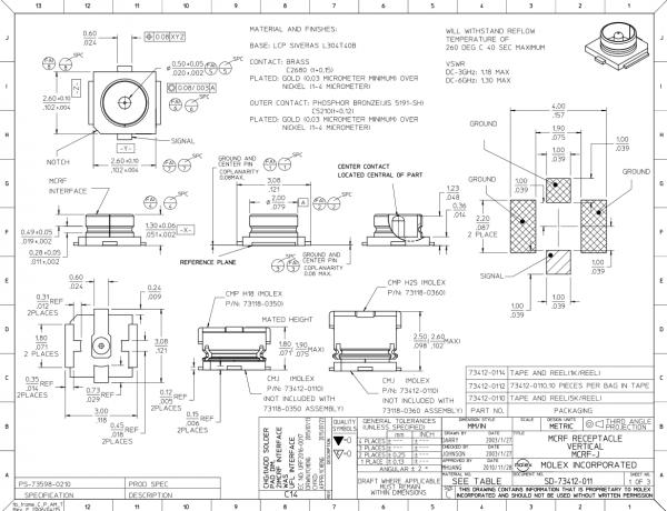 Conector coaxial soclu tata SMT 50Ω 1.25mm 1