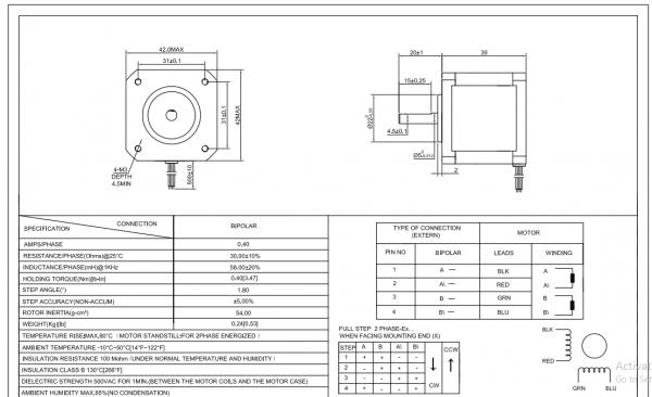 Motor stepper Nema 17 Bipolar 1.8deg 45Ncm (63oz.in) 1.5A 12V 42x42x39mm 4 Wires 1