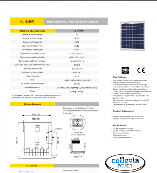 Panou Solar 251X186X18mm 5W 18.2V celulă fotovoltaică siliciu policristalin 2