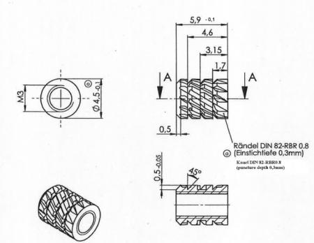 Piulita insert din alama pentru plastic m3 [1]