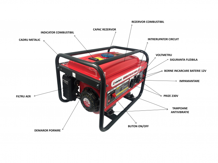 Generator pe Benzina Elefant ZH 2500, Monofazat, 2.2 kW, 230 V, 1 Cilindru, 4 timpi, Racire cu aer [3]