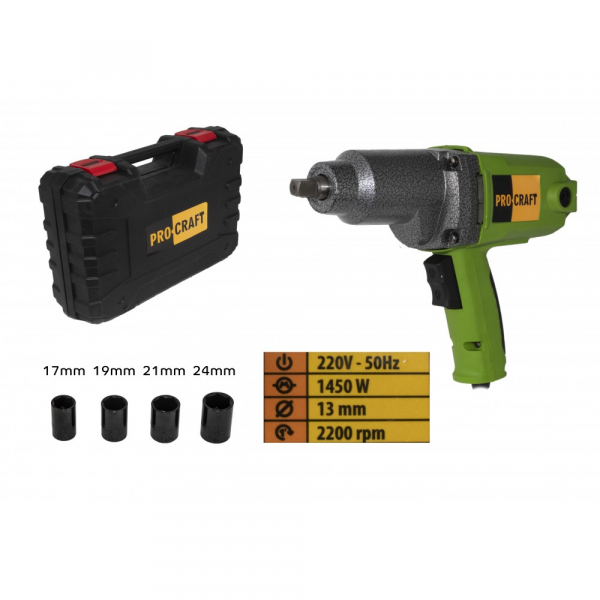 Pistol electric cu impact, 1450W, 450Nm, Procraft ES1450 [0]