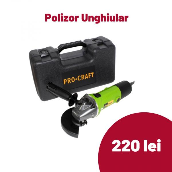 POLIZOR UNGHIULAR FLEX CU VARIATOR DE VITEZA PROCRAFT PW1350EK, CU VALIZA TRANSPORT 1350 W, 11000 RPM, 125 MM [0]