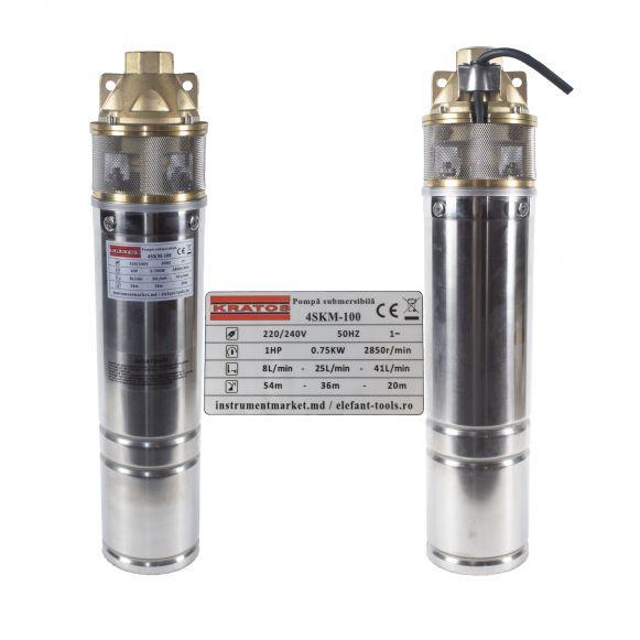 Pompa submersibila  0.75 CP, 41l/min, Bobinaj din Cupru, Kratos 4SKM-100, [3]