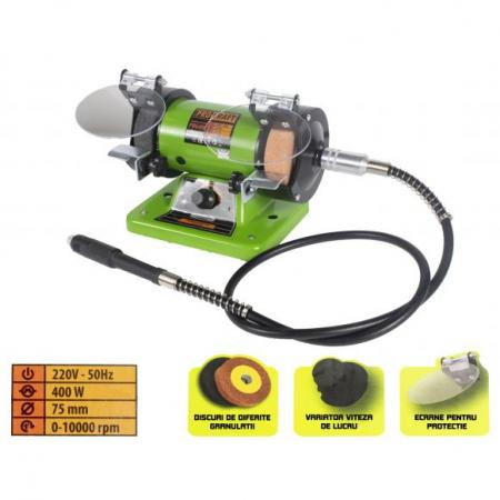 Polizor de banc cu gravor, 400 W, 10000 RPM, 75 mm, Procraft PBG 400 [0]