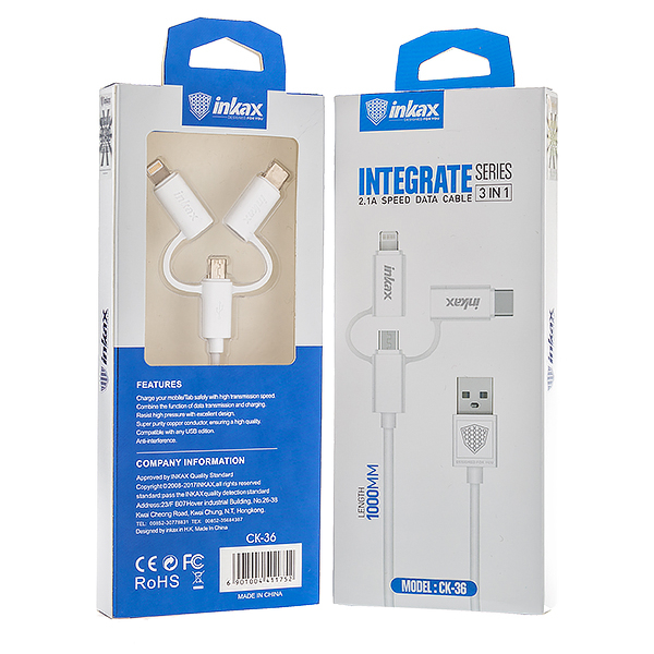 Cablu USB 3 in 1 (micro USB + tip C+Apple), 2.1 A, lungime 1,0m, model CK36 0