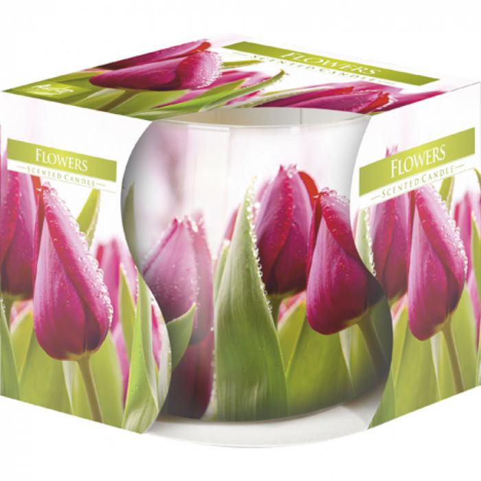 Lumanare parfumata in pahar de sticla imprimat motiv floral 0
