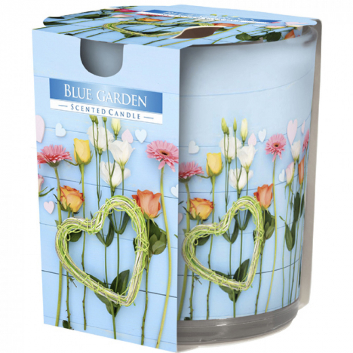 Lumanare parfumata in pahar de sticla imprimat Blue Garden 0