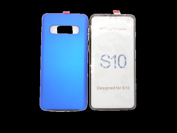 Husa protectie 360° full TPU+PC, spate albastru, fata transparenta, Samsung S10 Plus 0