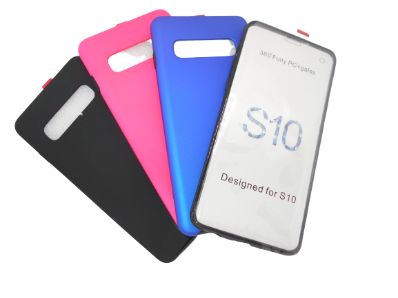 Husa protectie 360° full TPU+PC, spate albastru, fata transparenta, Samsung S10 Plus 1