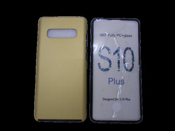 Husa protectie 360° full TPU+PC, spate auriu, fata transparenta, Samsung S10 Plus 1