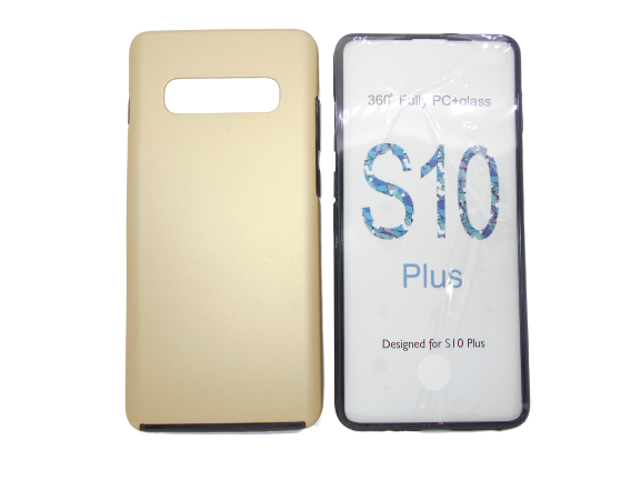 Husa protectie 360° full TPU+PC, spate auriu, fata transparenta, Samsung S10 Plus 0