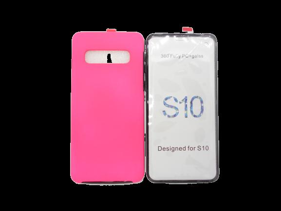 Husa protectie 360° full TPU+PC, spate roz, fata transparenta, Samsung S10 0