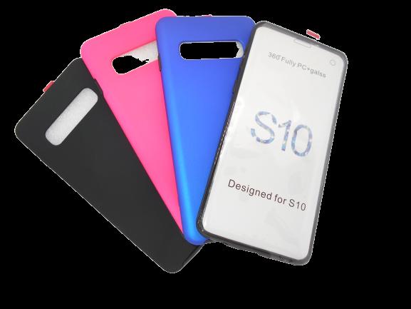 Husa protectie 360° full TPU+PC, spate roz, fata transparenta, Samsung S10 2
