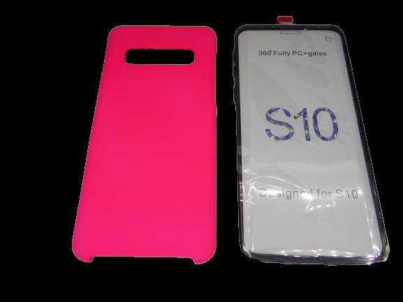 Husa protectie 360° full TPU+PC, spate roz, fata transparenta, Samsung S10 1
