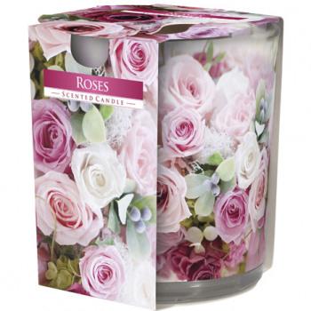 Lumanare parfumata in pahar de sticla imprimat , motiv trandafiri 0